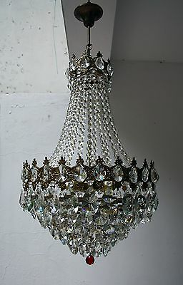 Antique French Basket Style Brass & Crystals Large Big Chandelier 1950's