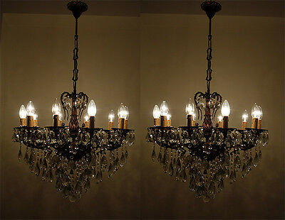 Pair of Antique 10 arms 10 lights Cast Brass & Crystals Cherub Chandelier 1940's