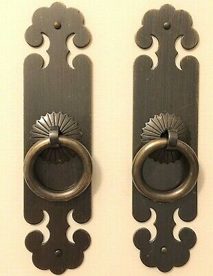 New Pair Chinese Brass Face Plates Cabinet Door Drawer Pulls Furniture Hardware