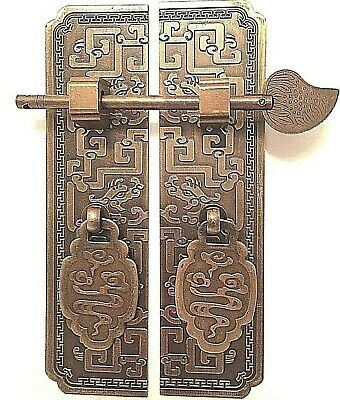 """6"""" New Pair Chinese Dragon Brass Face Plate Cabinet Door Pull Furniture Hardware"""