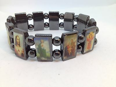 Hematite Stretch Bracelet Icons Saints Christian Catholic Religious Jesus Mary