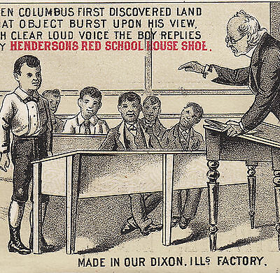 Lenark IL Henderson Red School House Shoe Columbus poem Advertising Trade Card