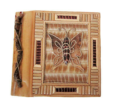 """Small Handmade photo album,leaves+handmade paper BUTTERFLY decortions 8""""x7"""" new"""