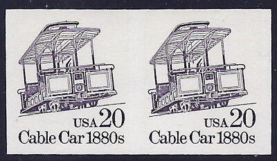 """2263a - 20c XF-SUP Imperf Error / EFO Pair """"Cable Car"""" Mint NH"""