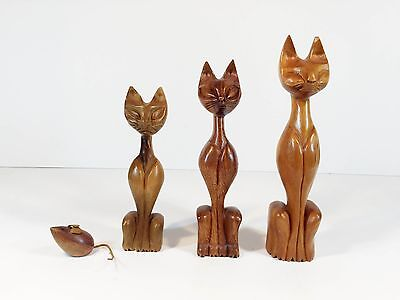 Lot of 3 mid century modern carved cats and a mouse