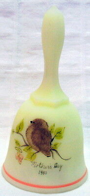 1980 MOTHER'S DAY BELL Fenton Burmese HAND PAINTED Labeled
