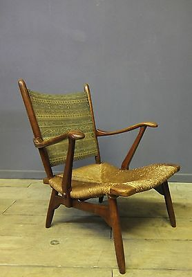 Vintage Scandinavian Arm Chair, Rush Seat, Mid Century
