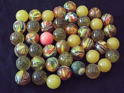 """Lot of 45 Vintage Rubber Bouncing Toy Balls 1"""" Size For Coin-Op Vending Machines"""