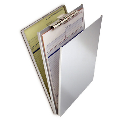 "Saunders 10007 5.67"" x 9.5"" Aluminum Top Opening A-Holder Compartment Clipboard"