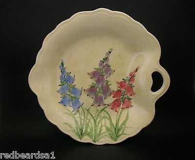 Wood & Sons Signed E Radford Art Deco Dish Hand Painted Foxglove c1920s England