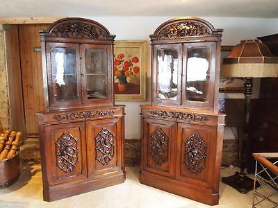 Cabinets bookcase display Victorian carved Oak c1850