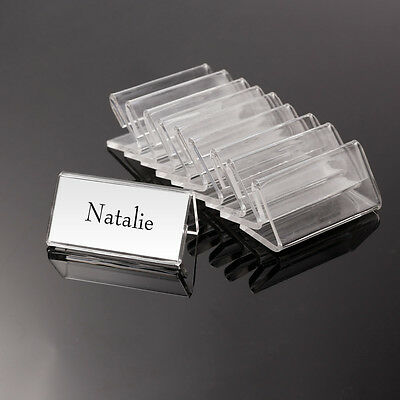 50x MINI 4*2cm Acrylic Sign Display Holder Price Name Card Tag Label Stand