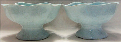 Pair of Vintage 820 BRUSH POTTERY Planters BLUE & BRICK RED Spackle
