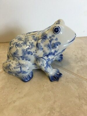 Frog Coin Bank Blue & White Ceramic