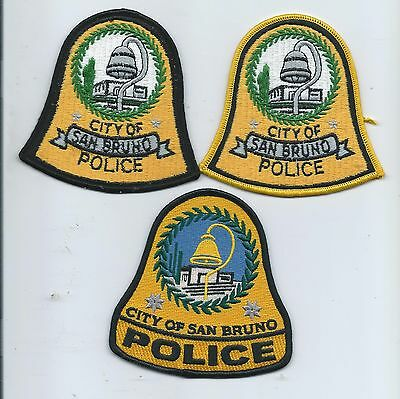 Three generations of San Bruno P.D. patches- Calif.
