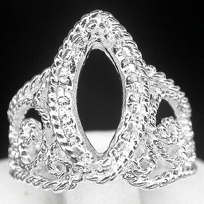 Alluring! Ring Setting Real Sterling Silver 925 Marquise 14 X 7 Mm. Size 6.75