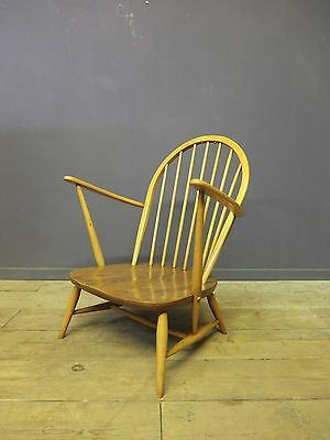 Ercol Low Lounge Chair, Model 305, Mid Century, Retro, Blonde Elm