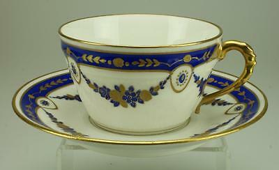 Antique Handpainted Chabrol & Poirier Grand Prix Limoges Duo Cup & Saucer VA162