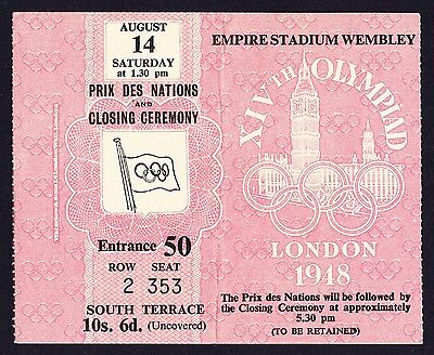 1948 London Olympics Prix Des Nations & Closing Ceremony Ticket 14th August *Ex*