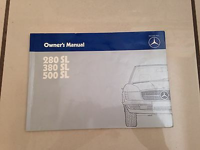 Mercedes Benz R107 Sl Series Owners Manual 280 Sl 380 Sl 500 Sl