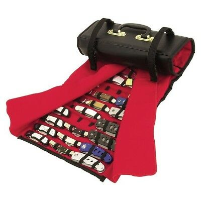 United UC1183 Knife Roll Black Red Felt Interior Holds 50-60 Knives