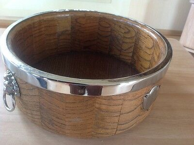 Vintage Wooden Fruitbowl Lion Head Handles In Chrom With Chrome Rim