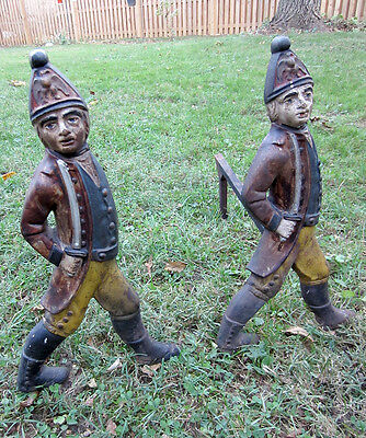 Hessian Soldiers (antique) fireplace andirons