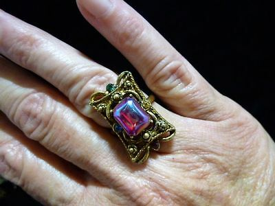 VTG-1950's-60's-NEW/Old Stock Antique Bronze Victorian Revival Siam Red Ring