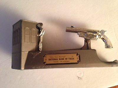 Wild West Mechanical Coin Shooting Bank 1950s by Duro, Shoots At Cowboy, WORKING