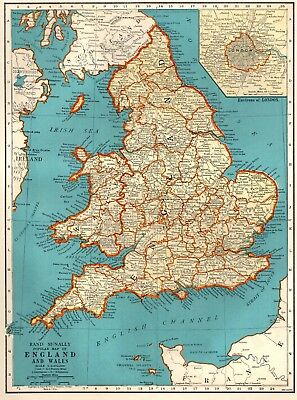 1941 Vintage MAP of ENGLAND & WALES Map  United Kingdom Map 3218