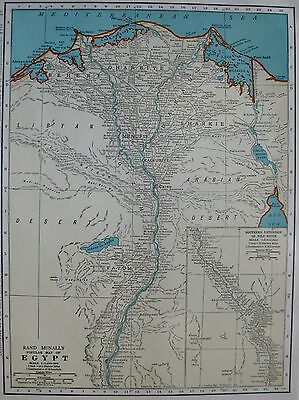 1935 Vintage  MAP of EGYPT  Beautiful COLOR Vintage 1930s Egypt Map 3223