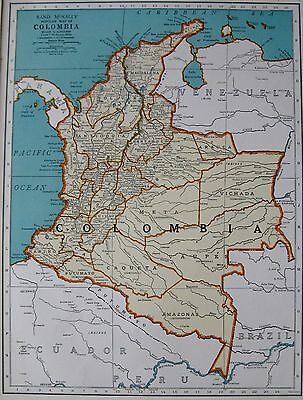 1941 Antique Map of COLOMBIA Map South America Map Gallery Wall Art #3225