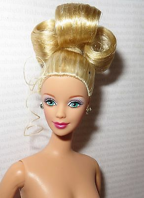 Nude Barbie ~ Mattel Blonde Updo Green Eyes Holiday Mackie Doll For Ooak
