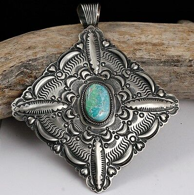 HUGE DARRYL BECENTI Carico Lake Necklace Pendant Turquoise Sterling Navajo