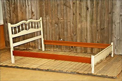 French Provincial WHITE/GOLD BED FRAME Double/Full shabby wood vintage chic 60s