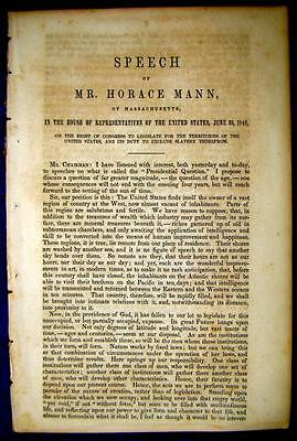 1848 SLAVERY Horace Mann Congress Right to Legislate Territories Exclude Slavery