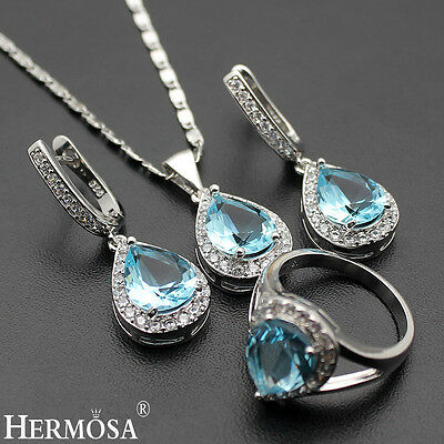 New Blue Topaz Sets 925 Sterling Silver Pendant Necklace & Earrings & Ring 8#