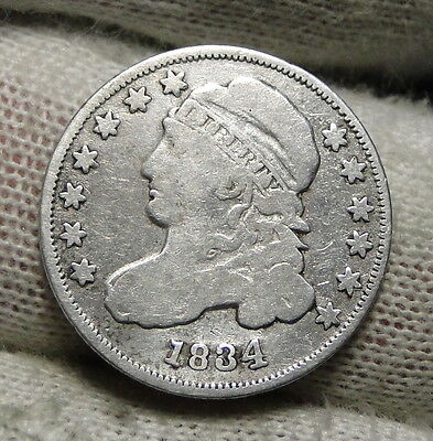 1834 Capped Bust Dime 10 Cents - Nice Coin, Free Shipping  (3265)