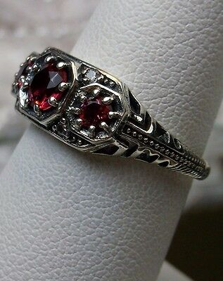 *Red Ruby* Solid Sterling Silver Filigree Edwardian/Georgian Dainty Ring Size 6