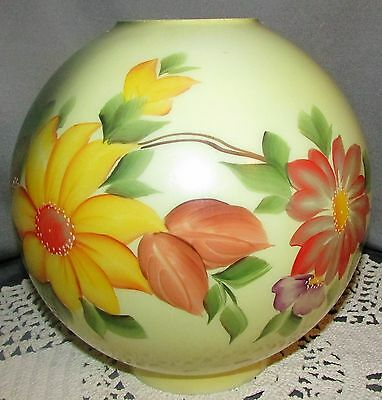 "Antique GWTW Lamp Globe Ball Shade 8 1/4"" Diameter 4"" Fitter Handpainted Floral"