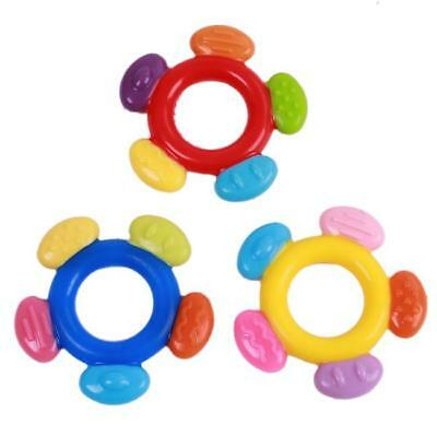 1x Cute Baby Kids Infant Teether Teething Ring Rattle Biting Circle Toy Silicone