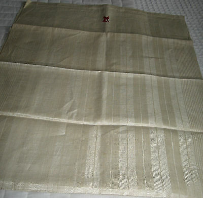 """3 German Antique linen damask towels (red mono/19 x 48""""/New old stock/REDUCED!!"""