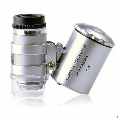 60x Handheld Pocket Microscope Loupe Jeweler Magnifier With LED UV Light Glass