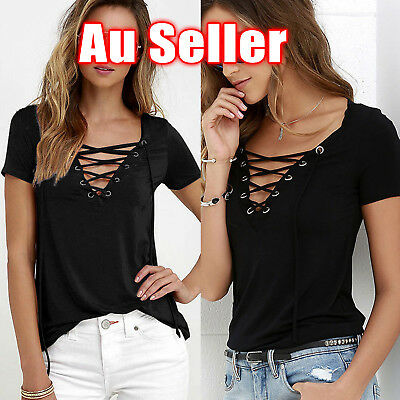 Fashion Women Ladies Casual V Neck Short Sleeve Cotton Loose Tops T-Shirt Blouse