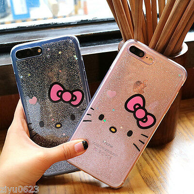 Cute Hello Kitty Glitter Bling Transparent Soft Case For iPhone X 7 8 Plus 6Plus