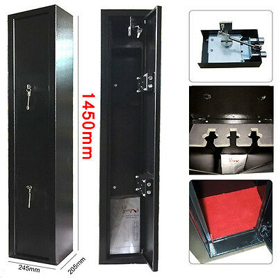 Extra Large Long 3 Scoped Gun Cabinet Rifle Shortgun Safe + Inner Ammo Lockbox