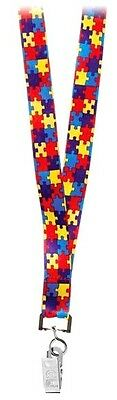 Autism Lanyard ID Badge Holder Awareness Puzzle Piece Neck Clip Style New