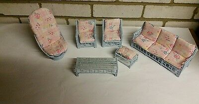 1985 BARBIE Doll Furniture - Blue Plastic Wicker set