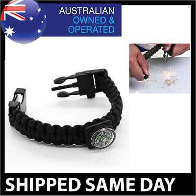 5 in 1 PARACORD SURVIVAL BRACELET Compass Fire Whistle Hiking Tactical Army Gear