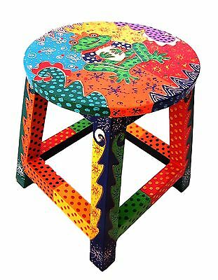 Hand painted multicoloured CUTE FROG wooden child's stool unique gift BRIGHT new